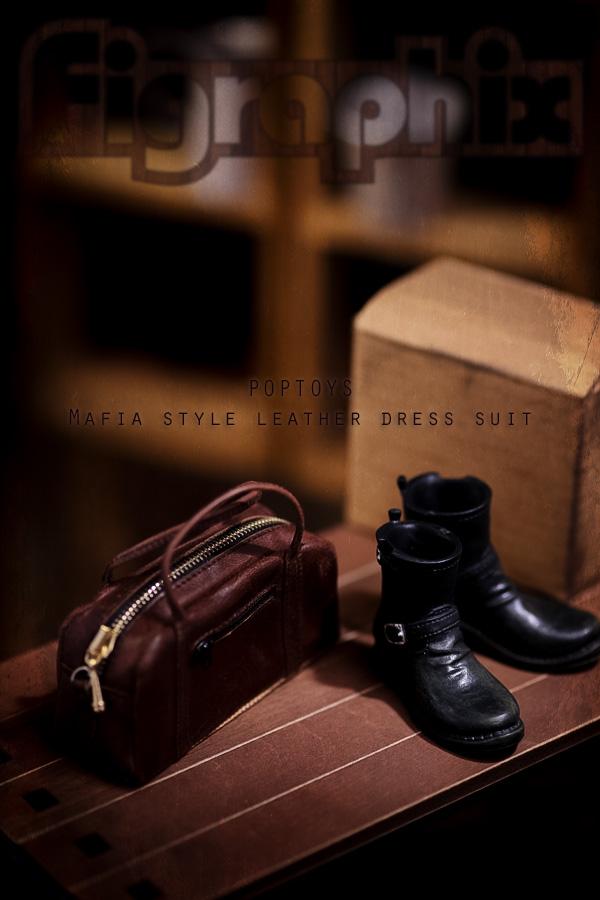 Mafia style leather dress suit set